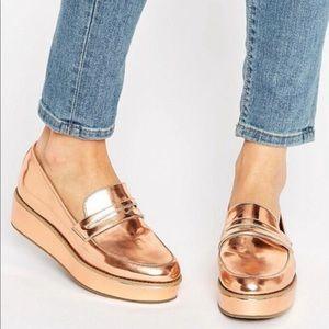 ASOS Rose Gold More Time Flatform Loafers